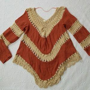 Umgee USA BOHO Long-sleeve  Crochet Top